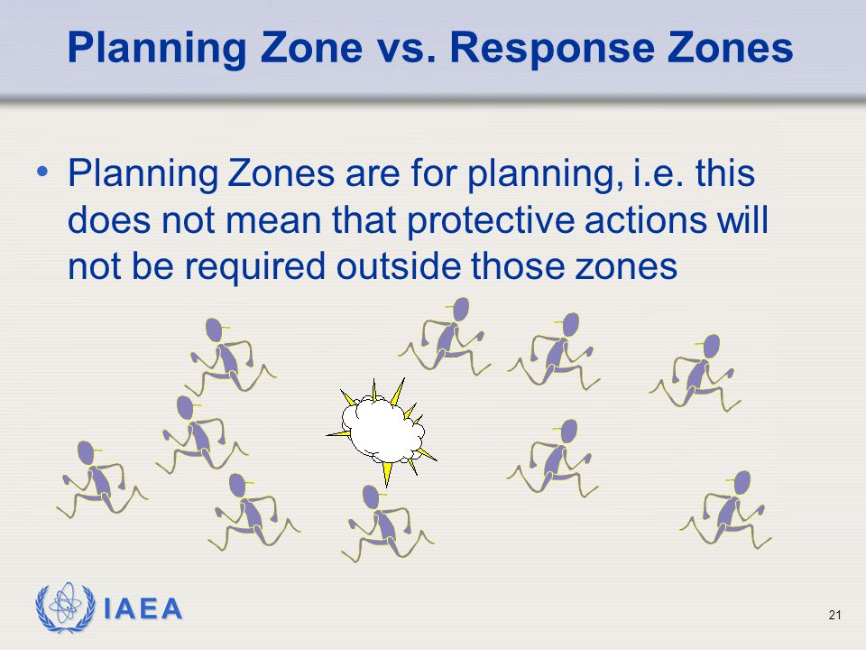 IAEA Planning Zone vs. Response Zones Planning Zones are for planning, i.e.