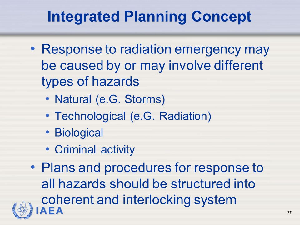 IAEA Integrated Planning Concept Response to radiation emergency may be caused by or may involve different types of hazards Natural (e.G.