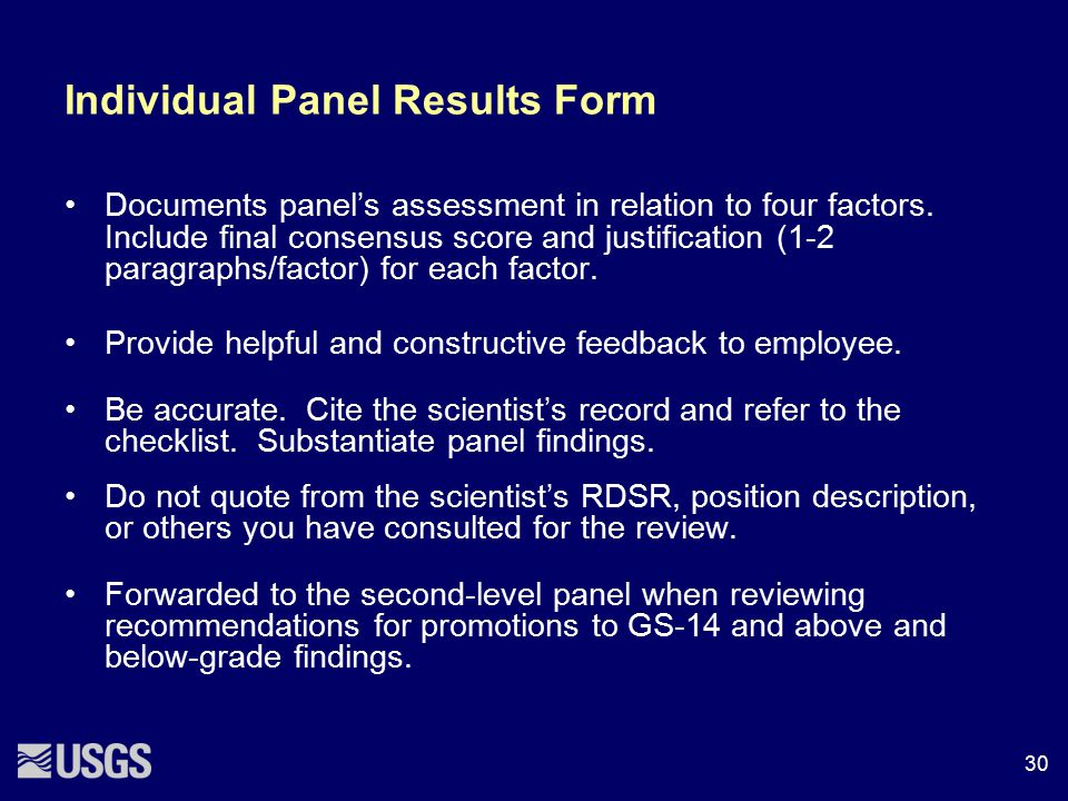 Individual Panel Results Form Documents panel's assessment in relation to four factors. Include final consensus score and justification (1-2 paragraph