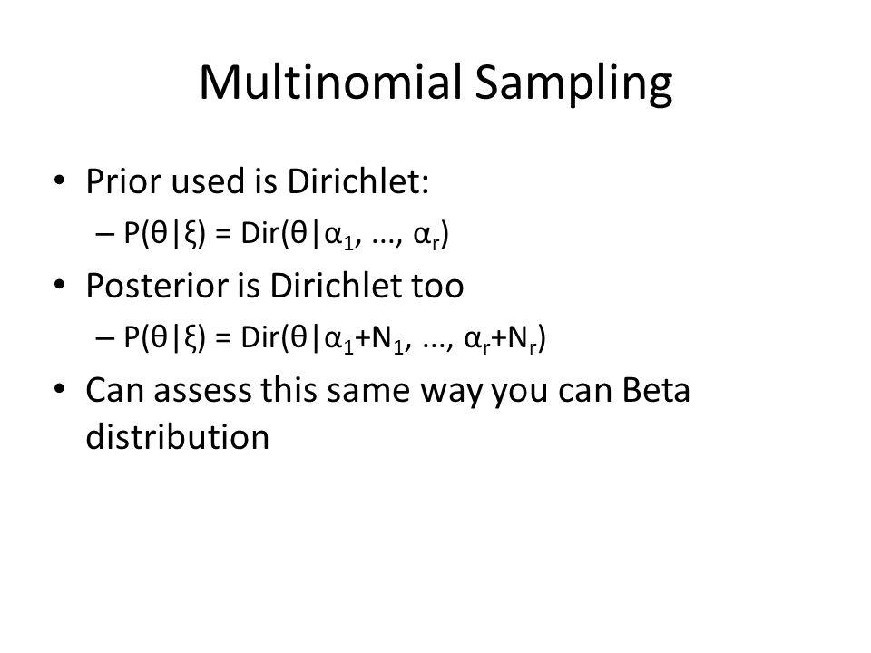 Multinomial Sampling Prior used is Dirichlet: – P(θ|ξ) = Dir(θ|α 1,..., α r ) Posterior is Dirichlet too – P(θ|ξ) = Dir(θ|α 1 +N 1,..., α r +N r ) Can