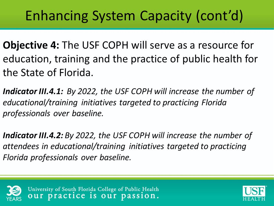 Objective 4: The USF COPH will serve as a resource for education, training and the practice of public health for the State of Florida.