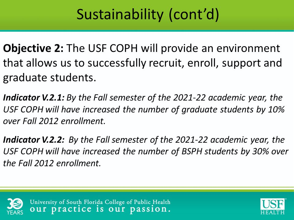 Objective 2: The USF COPH will provide an environment that allows us to successfully recruit, enroll, support and graduate students.