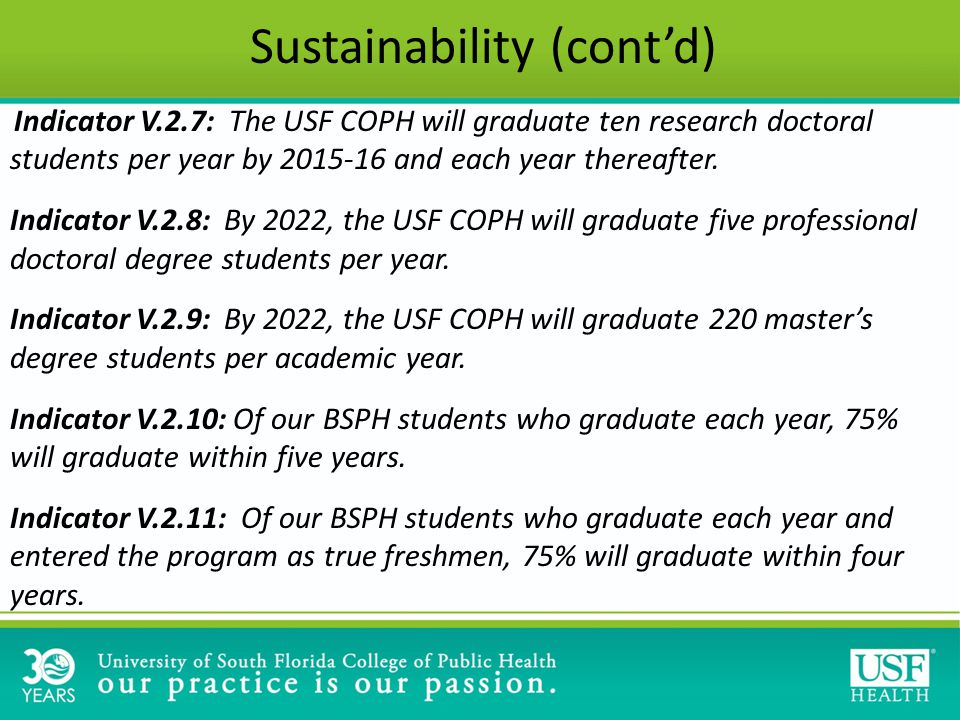 Indicator V.2.7: The USF COPH will graduate ten research doctoral students per year by 2015-16 and each year thereafter.