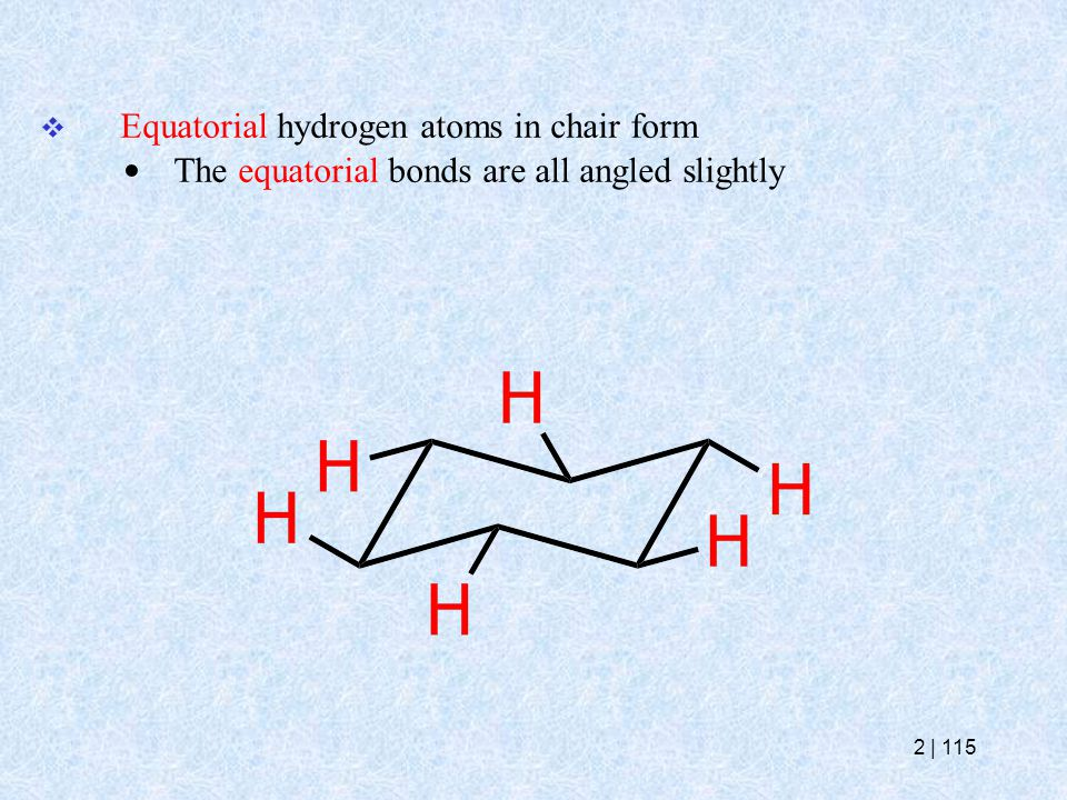  Equatorial hydrogen atoms in chair form The equatorial bonds are all angled slightly 2   115