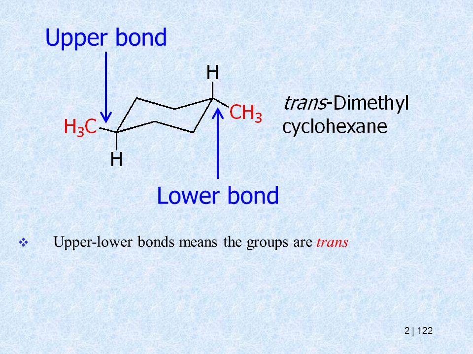 Upper bond Lower bond  Upper-lower bonds means the groups are trans 2   122