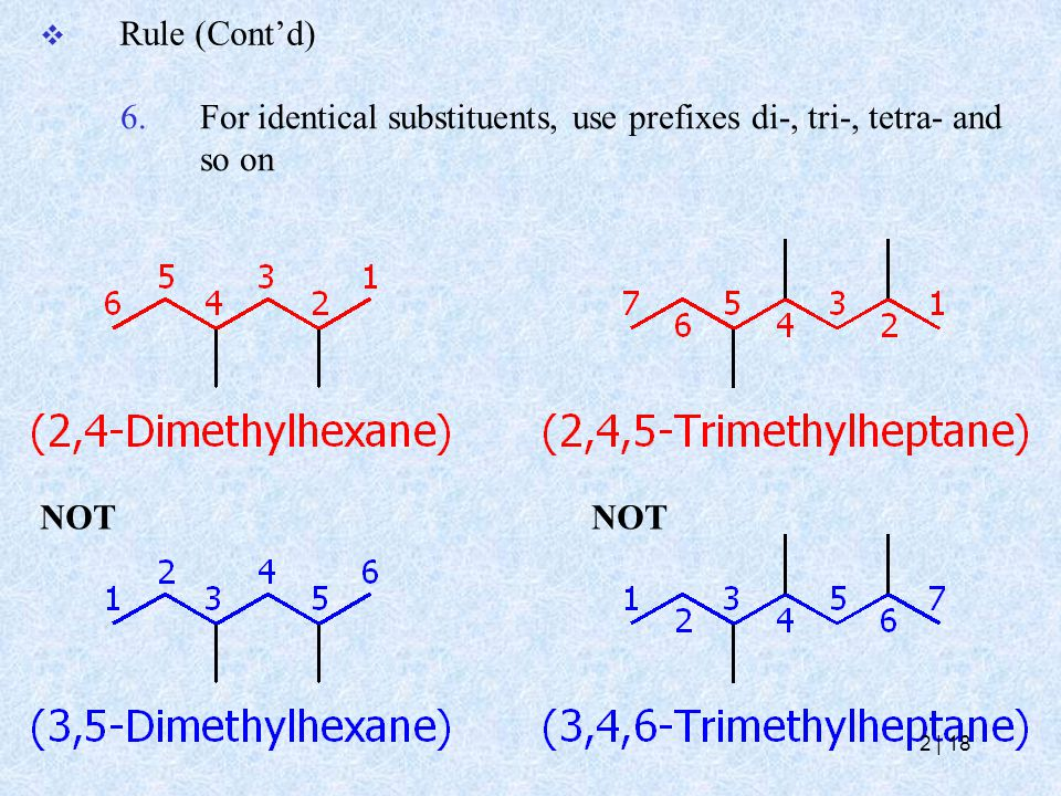 6.For identical substituents, use prefixes di-, tri-, tetra- and so on  Rule (Cont'd) NOT 2   18