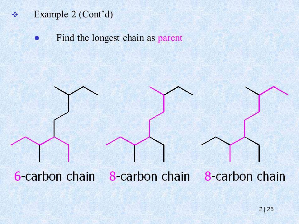 Example 2 (Cont'd) ● Find the longest chain as parent 2   25