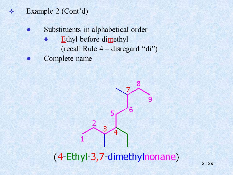 """ Example 2 (Cont'd) ● Substituents in alphabetical order  Ethyl before dimethyl (recall Rule 4 – disregard """"di"""") ● Complete name 2   29"""