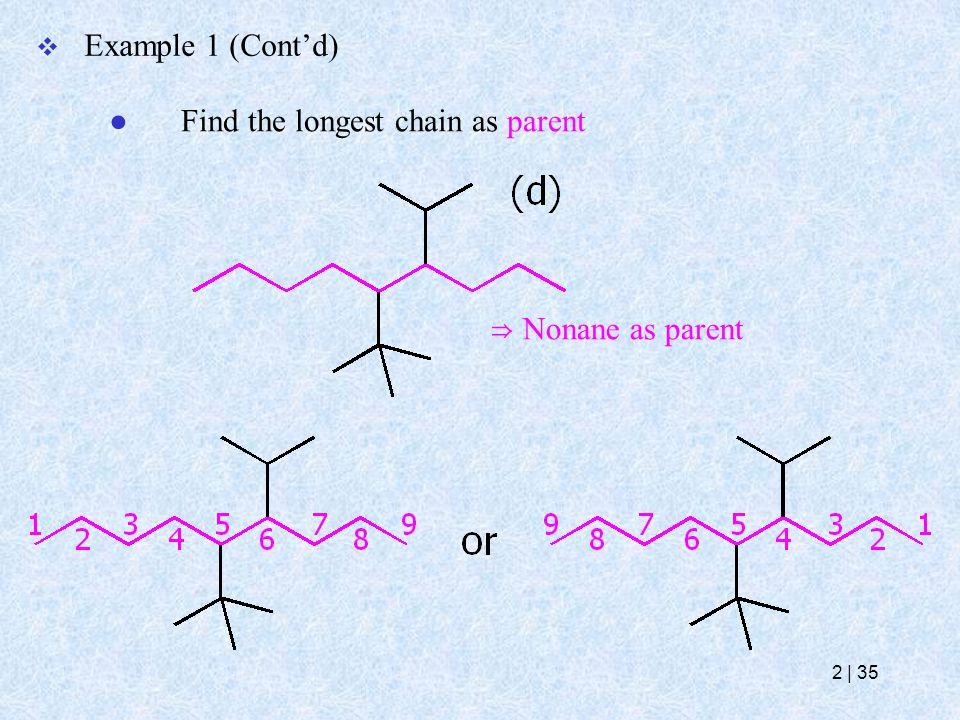 ⇒ Nonane as parent  Example 1 (Cont'd) ● Find the longest chain as parent 2   35