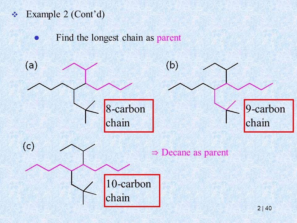  Example 2 (Cont'd) ● Find the longest chain as parent 8-carbon chain 9-carbon chain 10-carbon chain ⇒ Decane as parent 2   40