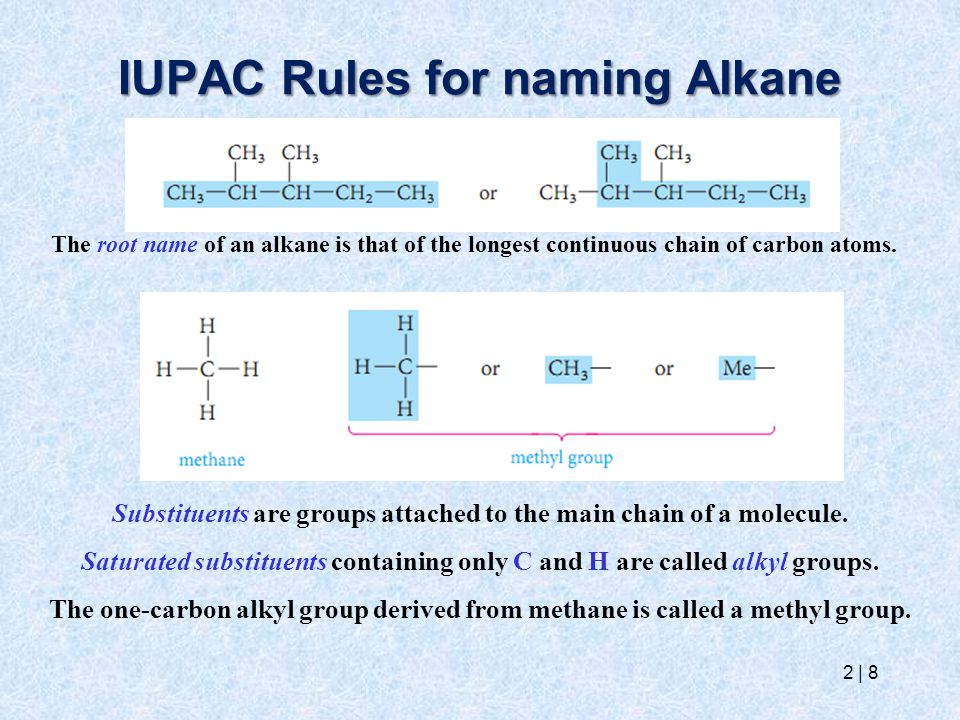 IUPAC Rules for naming Alkane 2   8 The root name of an alkane is that of the longest continuous chain of carbon atoms. Substituents are groups attach