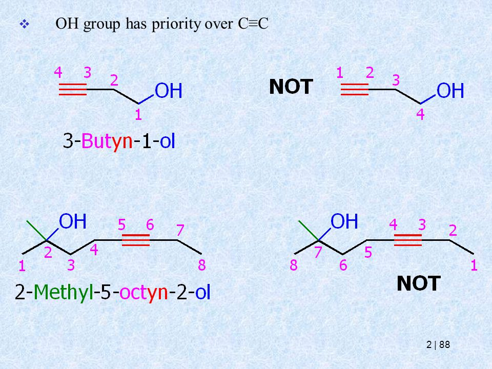  OH group has priority over C≡C 2   88