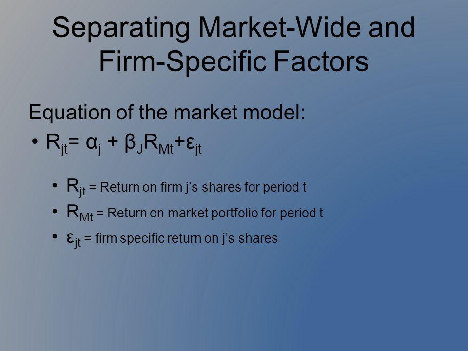 Equation of the market model: R jt = α j + β J R Mt +ε jt R jt = Return on firm j's shares for period t R Mt = Return on market portfolio for period t