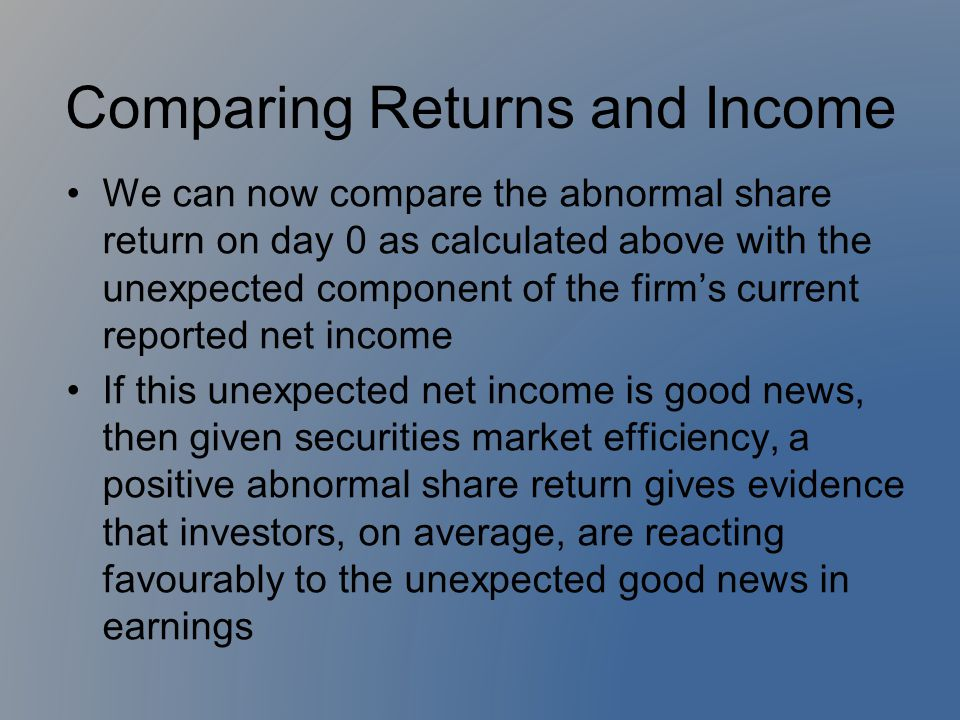 Comparing Returns and Income We can now compare the abnormal share return on day 0 as calculated above with the unexpected component of the firm's cur
