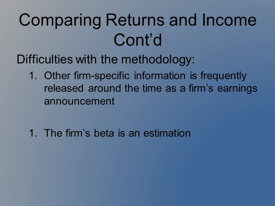 Difficulties with the methodology: 1.Other firm-specific information is frequently released around the time as a firm's earnings announcement 1.The fi