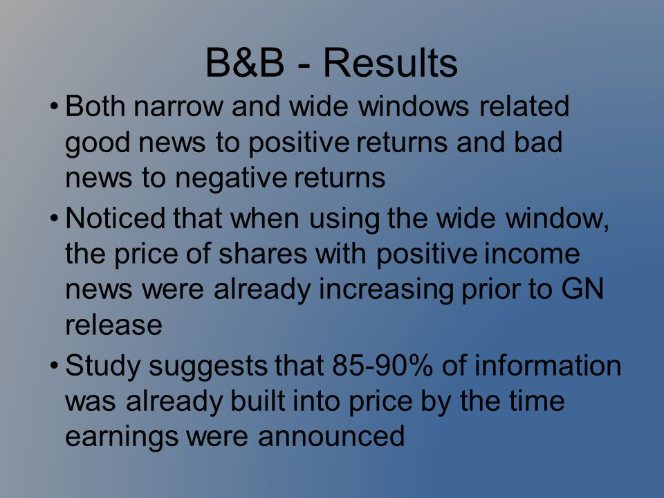 B&B - Results Both narrow and wide windows related good news to positive returns and bad news to negative returns Noticed that when using the wide win