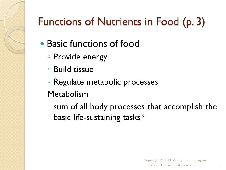 Functions of Nutrients in Food (p. 3) Basic functions of food ◦ Provide energy ◦ Build tissue ◦ Regulate metabolic processes Metabolism sum of all bod
