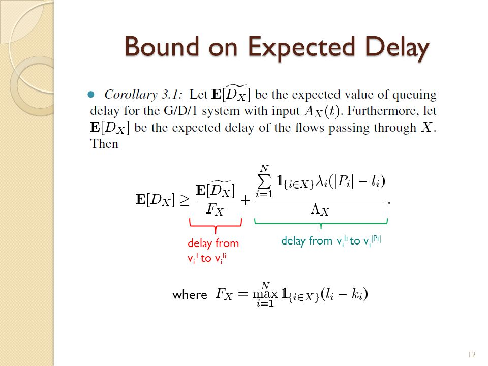 Bound on Expected Delay 12 delay from v i li to v i |Pi| delay from v i 1 to v i li where