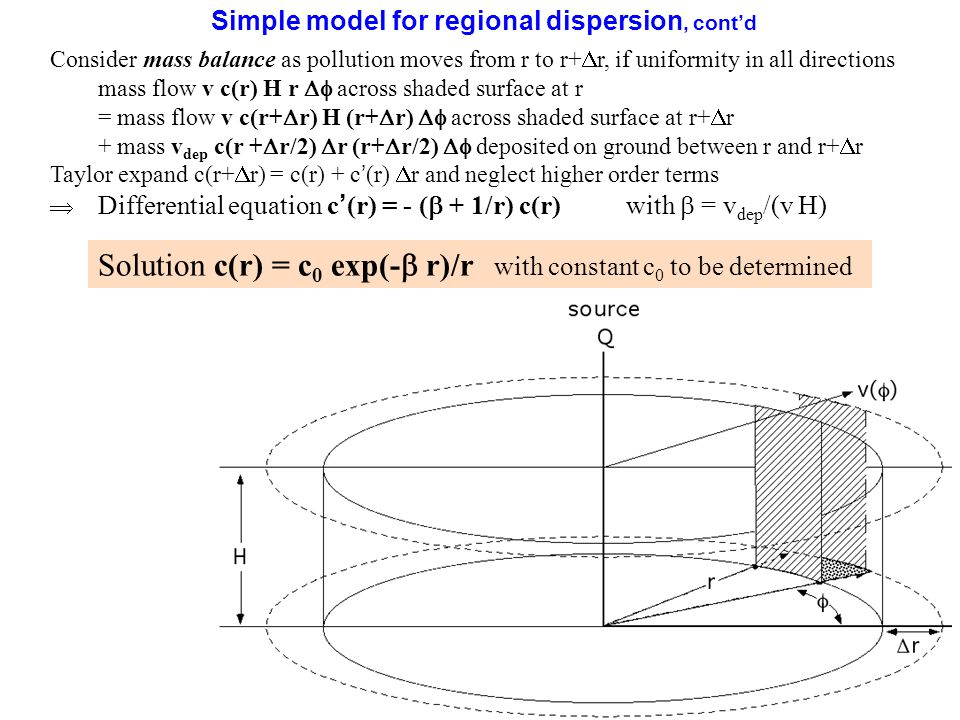 12 Simple model for regional dispersion, cont'd Consider mass balance as pollution moves from r to r+  r, if uniformity in all directions mass flow v