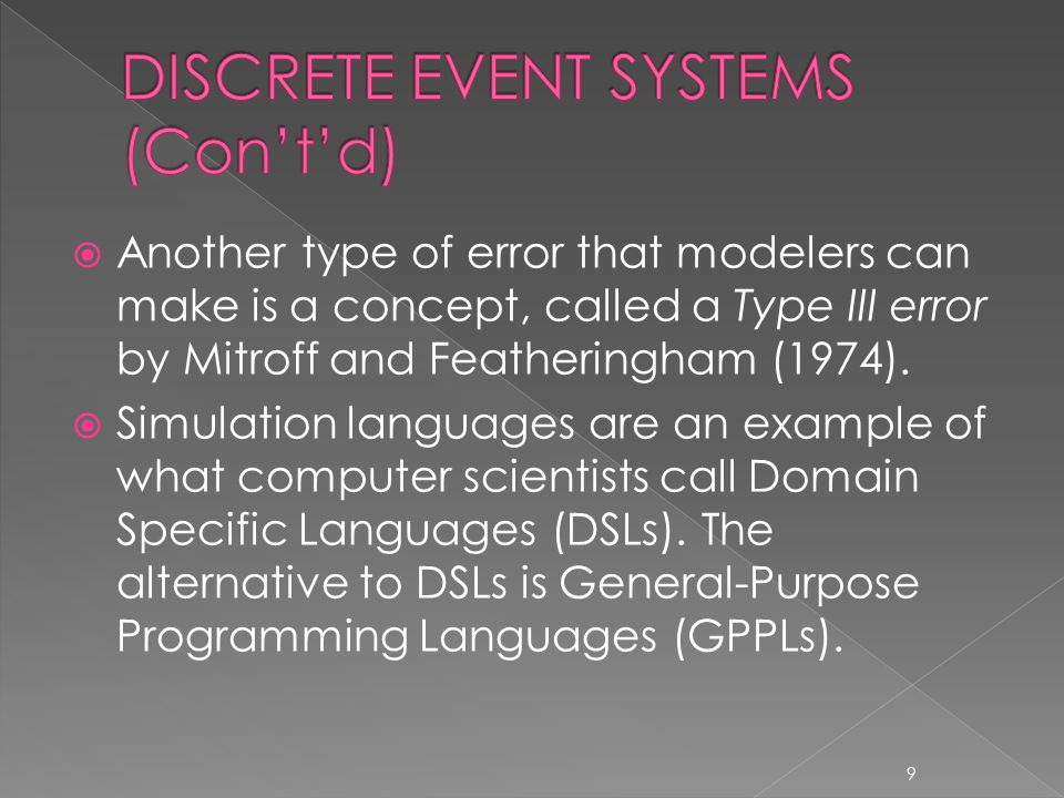  Another type of error that modelers can make is a concept, called a Type III error by Mitroff and Featheringham (1974).