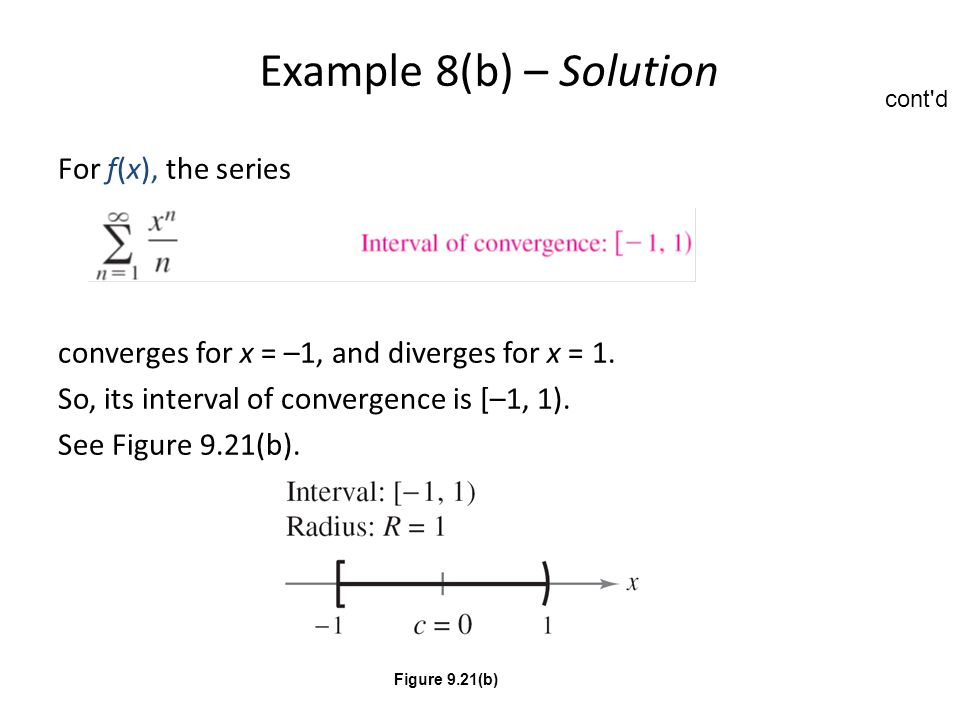 Example 8(b) – Solution For f(x), the series converges for x = –1, and diverges for x = 1. So, its interval of convergence is [–1, 1). See Figure 9.21