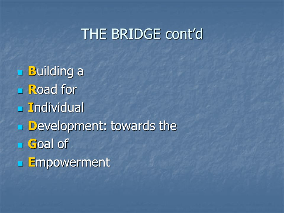THE BRIDGE cont'd Building a Building a Road for Road for Individual Individual Development: towards the Development: towards the Goal of Goal of Empowerment Empowerment