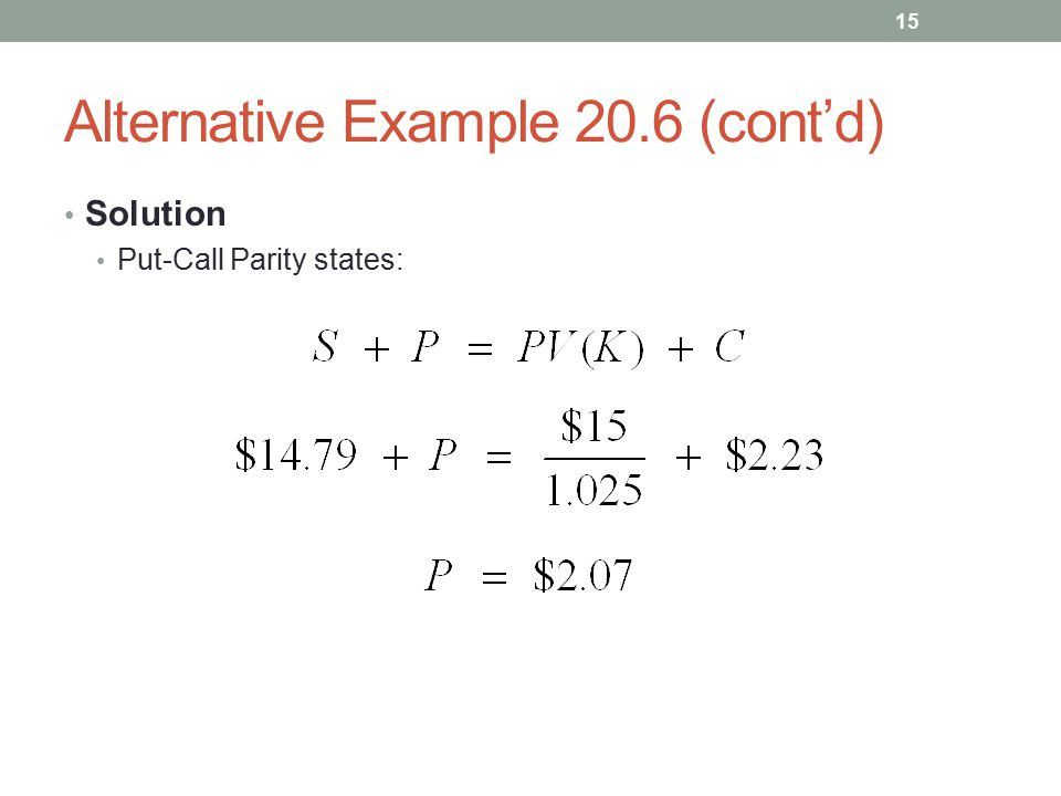 Alternative Example 20.6 (cont'd) Solution Put-Call Parity states: 15