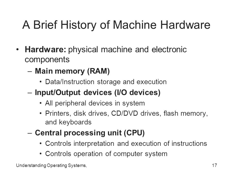Understanding Operating Systems,17 A Brief History of Machine Hardware Hardware: physical machine and electronic components –Main memory (RAM) Data/In