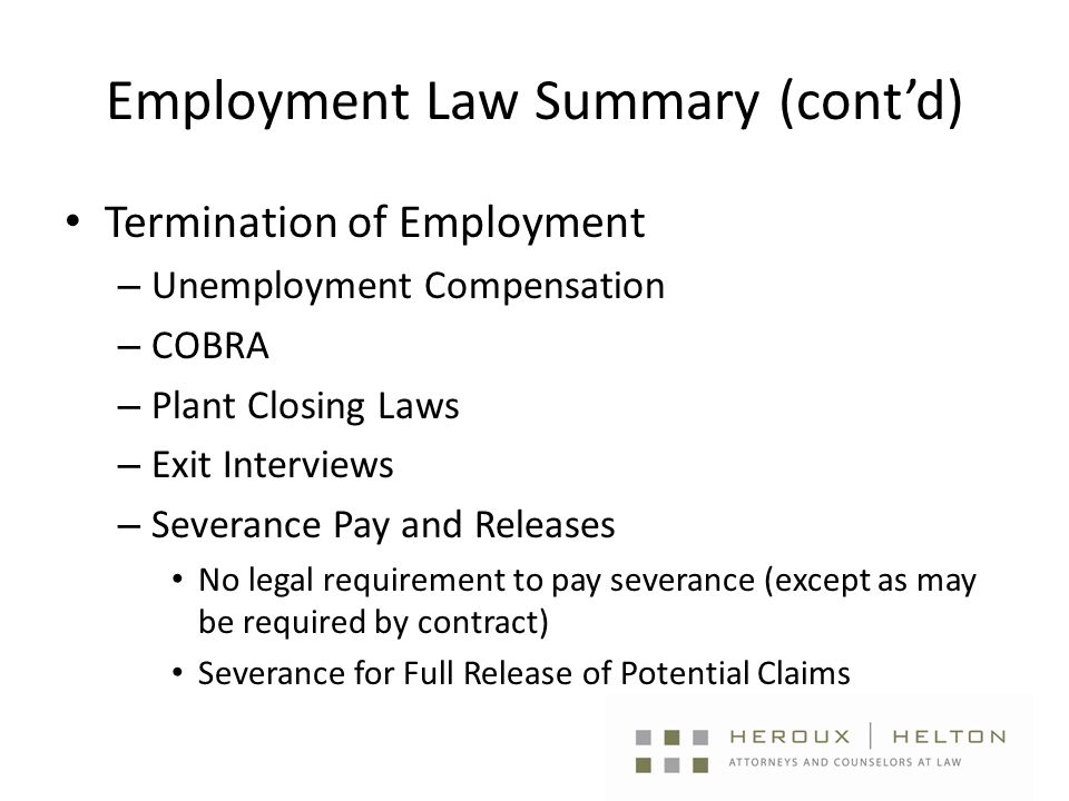 Employment Law Summary (cont'd) Termination of Employment – Unemployment Compensation – COBRA – Plant Closing Laws – Exit Interviews – Severance Pay and Releases No legal requirement to pay severance (except as may be required by contract) Severance for Full Release of Potential Claims