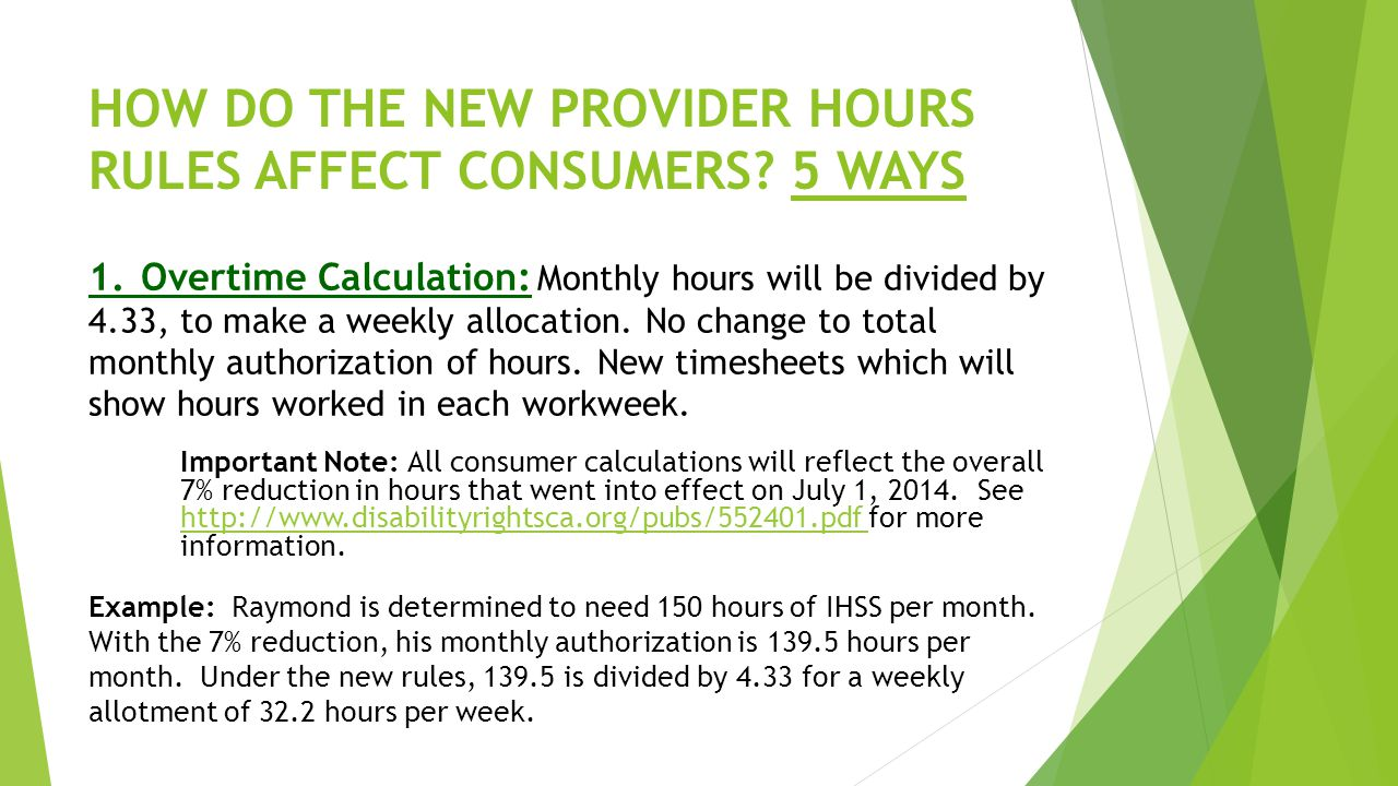 HOW DO THE NEW PROVIDER HOURS RULES AFFECT CONSUMERS.