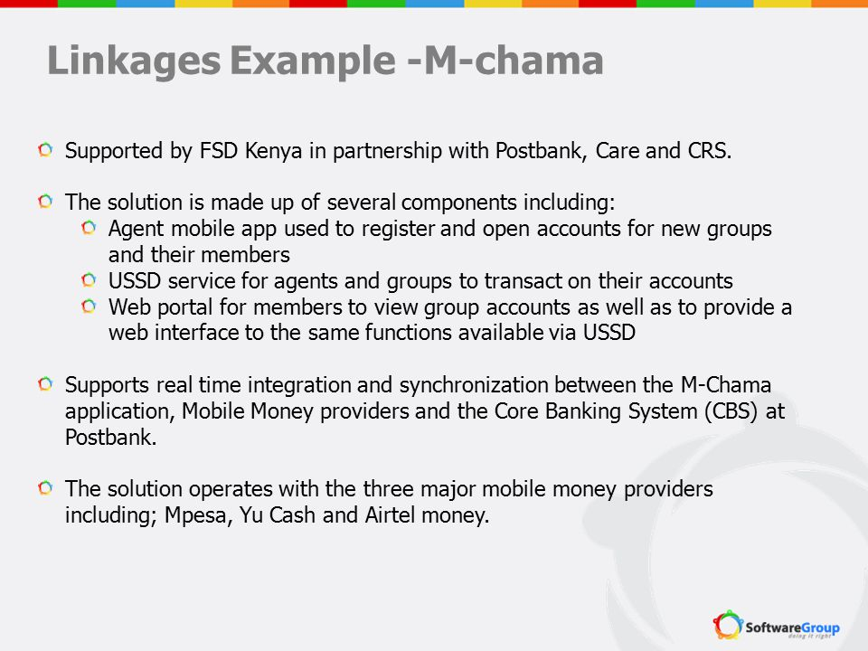 Supported by FSD Kenya in partnership with Postbank, Care and CRS. The solution is made up of several components including: Agent mobile app used to r