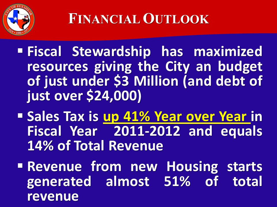 The City is in perhaps its best financial condition ever. The most recent Audit report indicates that the General Fund Reserve Balance is funded at 10