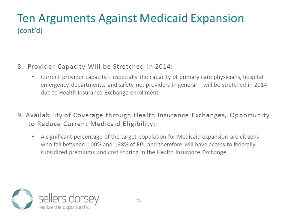 Ten Arguments Against Medicaid Expansion (cont'd) 8. Provider Capacity Will be Stretched in 2014: Current provider capacity – especially the capacity