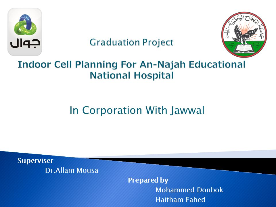 In Corporation With Jawwal Superviser Dr.Allam Mousa Prepared by Mohammed Donbok Haitham Fahed