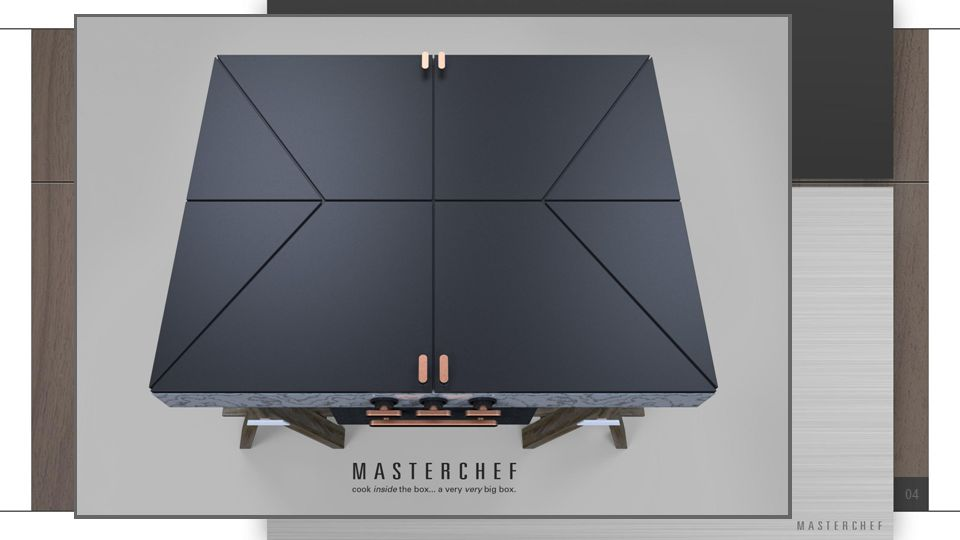 01: Eat & Entertain Range Top Island SIT Method Applied: Subtraction – A range with no grates Description: An oven range with no grates or exposed conduits – a large flat surface like any other countertop that, unlike a glass-top oven, can also serve as a kitchen island or bar, even while in use.