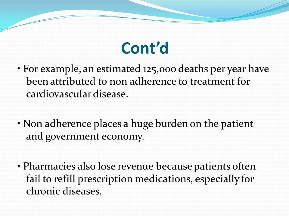 Factors that Reduce Adherence Disease-related factors 1. Chronic disease 2. Lack of symptoms