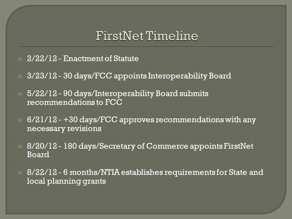  2/22/12 - Enactment of Statute  3/23/12 - 30 days/FCC appoints Interoperability Board  5/22/12 - 90 days/Interoperability Board submits recommenda