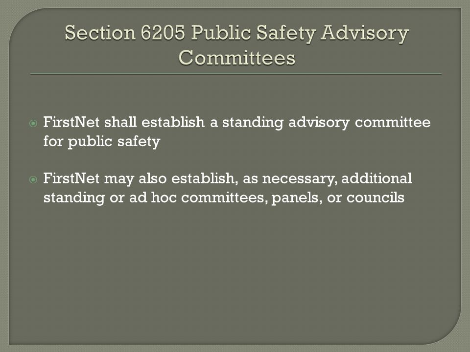  FirstNet shall establish a standing advisory committee for public safety  FirstNet may also establish, as necessary, additional standing or ad hoc committees, panels, or councils