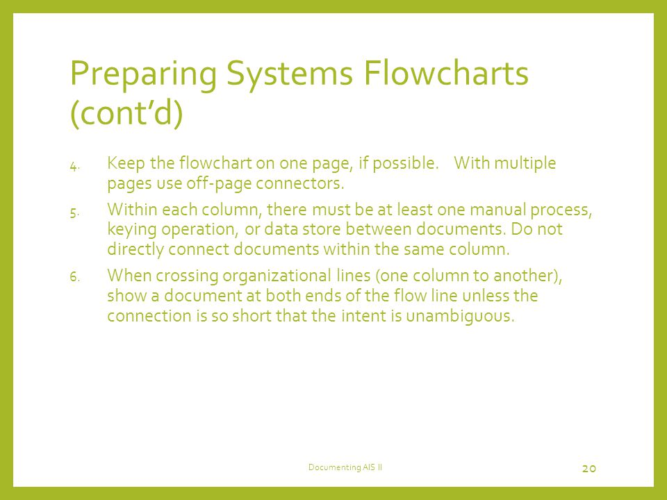 Preparing Systems Flowcharts (cont'd) 4.Keep the flowchart on one page, if possible.