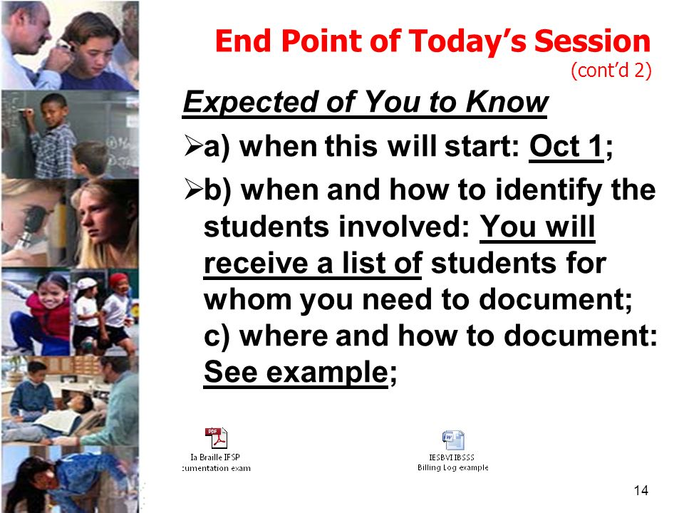 14 End Point of Today's Session (cont'd 2) Expected of You to Know  a) when this will start: Oct 1;  b) when and how to identify the students involved: You will receive a list of students for whom you need to document; c) where and how to document: See example;