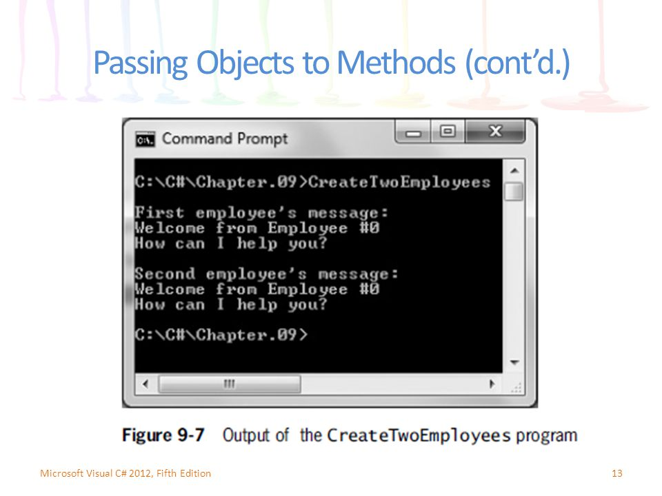 Passing Objects to Methods (cont'd.) 13Microsoft Visual C# 2012, Fifth Edition