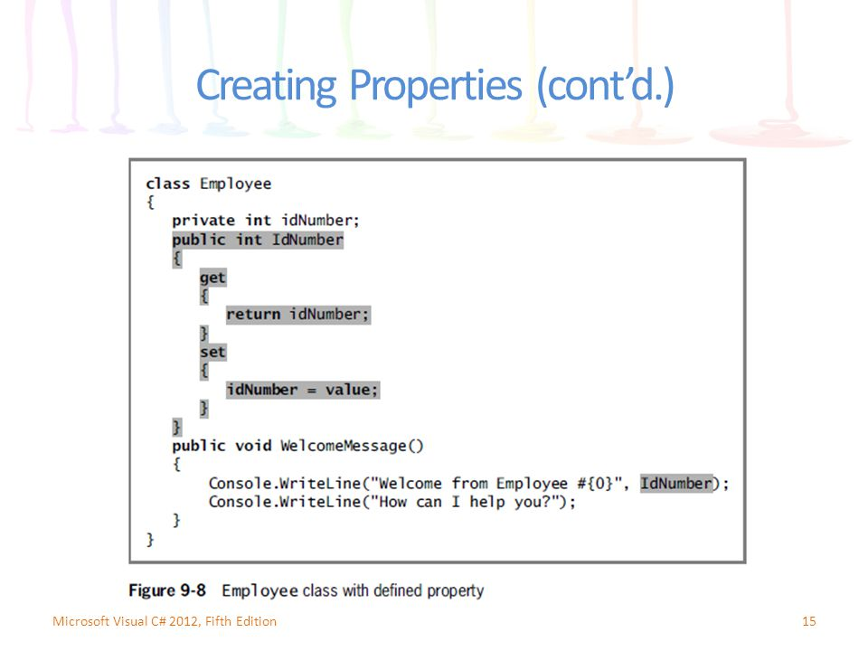 Creating Properties (cont'd.) 15Microsoft Visual C# 2012, Fifth Edition
