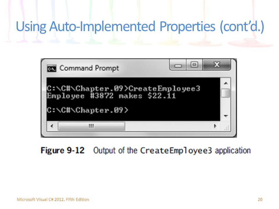 Using Auto-Implemented Properties (cont'd.) 20Microsoft Visual C# 2012, Fifth Edition