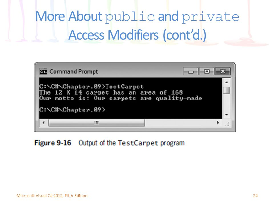 More About public and private Access Modifiers (cont'd.) 24Microsoft Visual C# 2012, Fifth Edition
