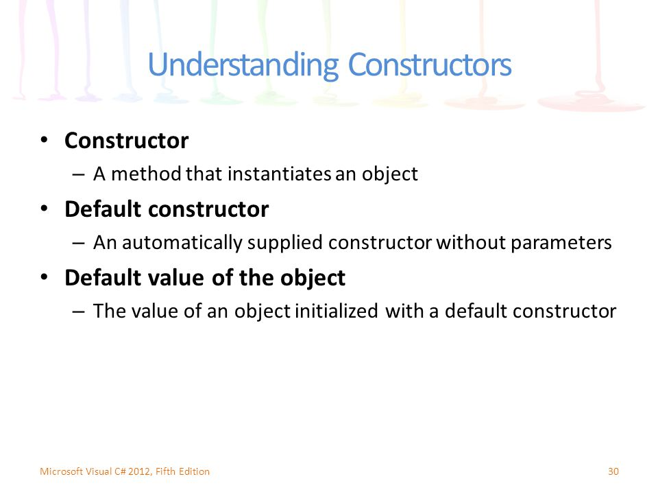 Understanding Constructors Constructor – A method that instantiates an object Default constructor – An automatically supplied constructor without parameters Default value of the object – The value of an object initialized with a default constructor 30Microsoft Visual C# 2012, Fifth Edition
