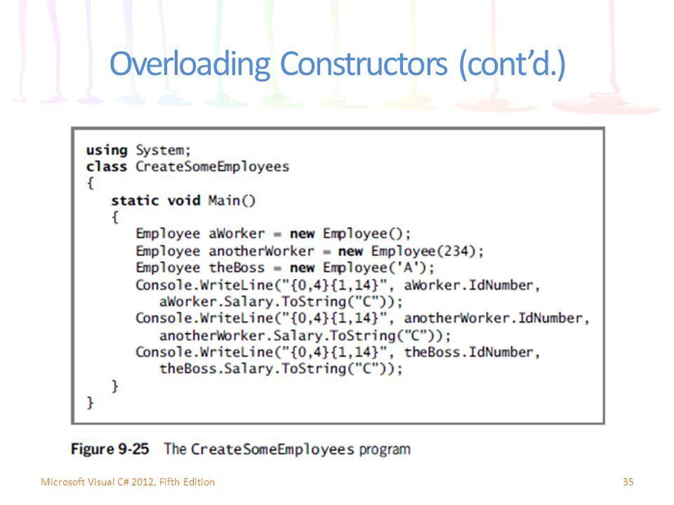 Overloading Constructors (cont'd.) 35Microsoft Visual C# 2012, Fifth Edition
