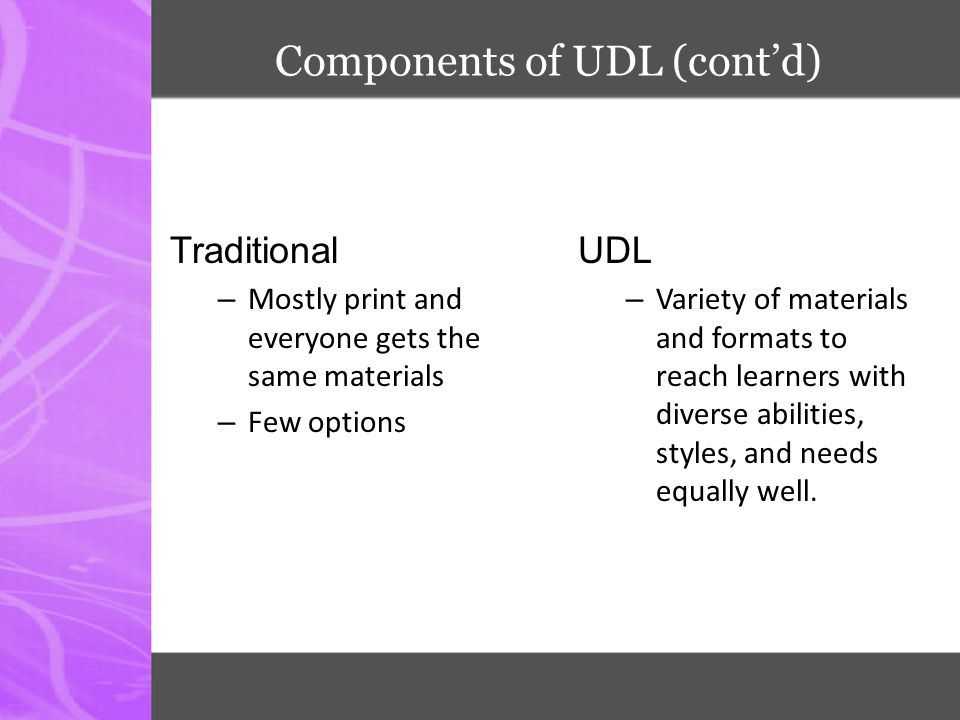 Components of UDL (cont'd) Traditional – Mostly print and everyone gets the same materials – Few options UDL – Variety of materials and formats to rea