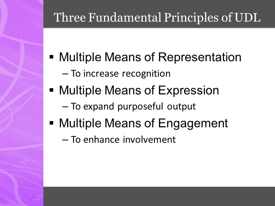 Three Fundamental Principles of UDL  Multiple Means of Representation – To increase recognition  Multiple Means of Expression – To expand purposeful