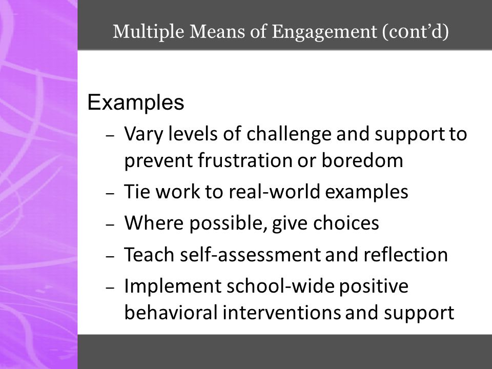 Multiple Means of Engagement (c0nt'd) Examples – Vary levels of challenge and support to prevent frustration or boredom – Tie work to real-world examp