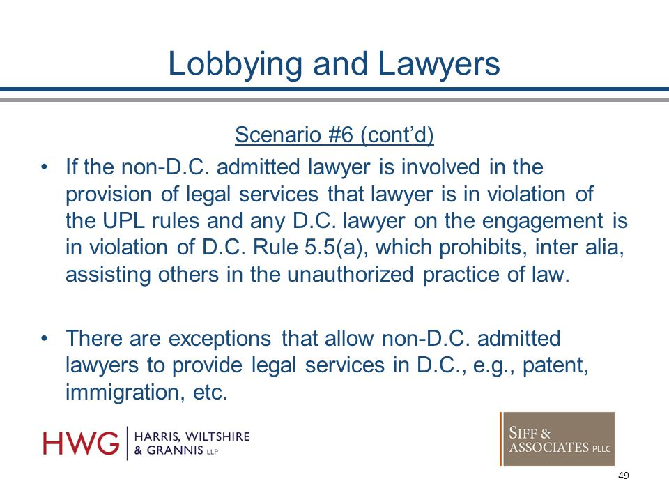 Lobbying and Lawyers Scenario #6 (cont'd) If the non-D.C.